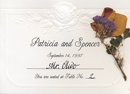flower place card calligraphy