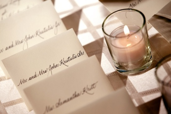 Wedding Reception Place Cards Calligraphy Placecard Example